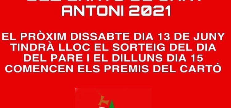 Tornen els sortejos de l'once i els premis del cartó de Sant Antoni 2021